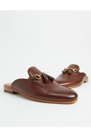 WALK LONDON Hombre Mocasines - Terry tassel bar backless mule loafers in brown leather