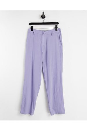 ASOS Hombre Chinos - Linen mix baggy trousers in purple