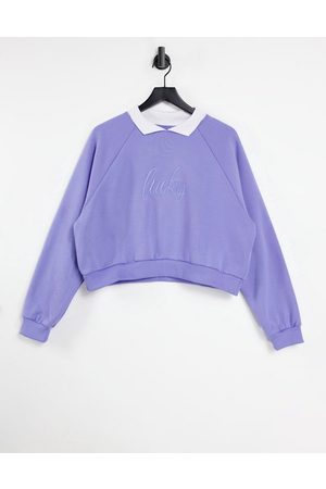 LOCAL HEROES Lucky embroidered relaxed sweatshirt with collar in blue