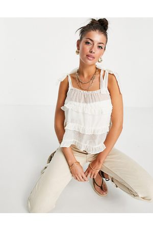 VILA Frill detail cami with tie shoulder detail in cream