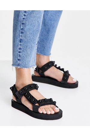 Glamorous Sporty sandals with pearl detail in black