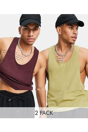 ASOS 2 pack organic vest with extreme racer back