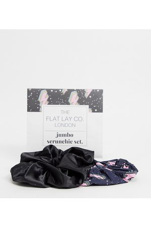 Flat Lay Company The Flat Lay Co. X ASOS Exclusive Lightning Black Satin Jumbo Scrunchie Set