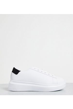 Truffle Collection Wide fit flatform trainers in white