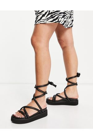 Public Desire Jolly flatform sandals with padded ankle tie in black