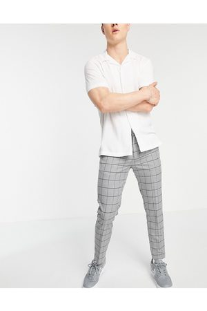 New Look Skinny cropped smart trousers in grey grid check