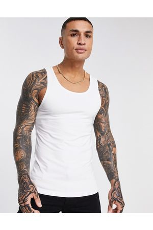 ASOS Organic muscle fit vest in white