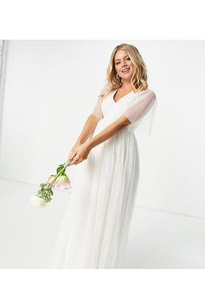 ANAYA Anaya With Love Maternity tulle flutter sleeve maxi dress in white