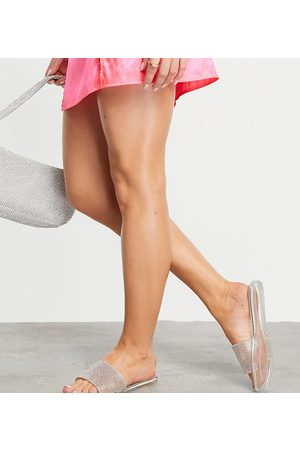 Simmi Wide Fit Simmi London Wide Fit Journi jewelled jelly mules in silver