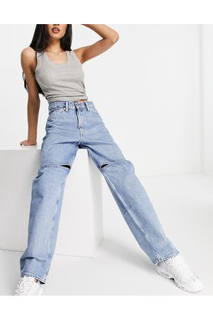 Weekday Mujer Jeans - Brae organic cotton mid rise carpenter jeans with slit knee in light wash