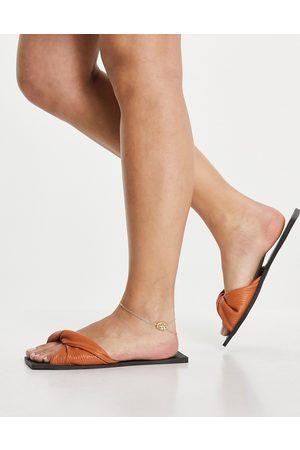 SIMMI Shoes Simmi London Parrish soft twist mule flat sandals in brown