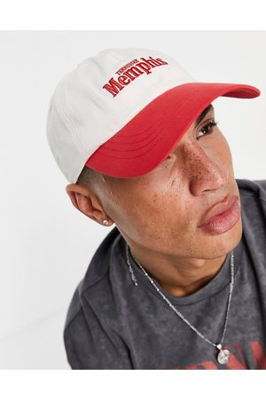 ASOS 5 panel cap with text in red