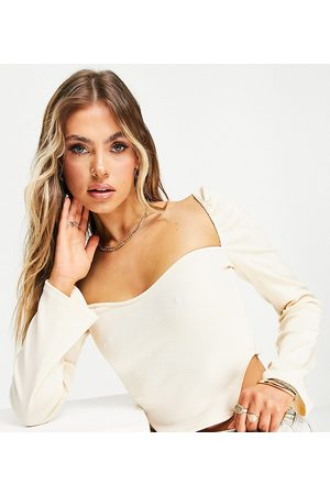 Missyempire Exclusive ribbed long sleeve corset top in buttercream