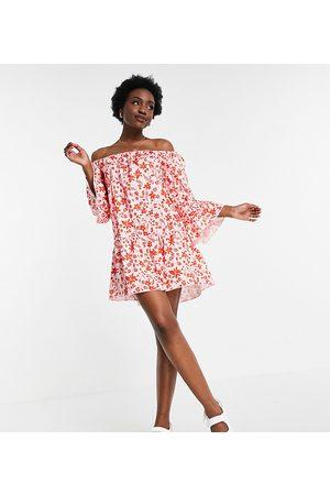 Parisian Off shoulder shadow floral mini dress in pink