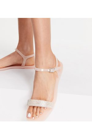 Truffle Collection Wide fit embellised flat jelly sandals in