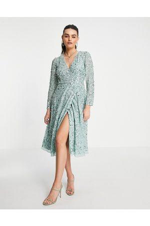 Maya Embellished mini wrap midi dress in mint