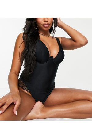 Wolf & Whistle Fuller Bust Exclusive underwired lace swimsuit in black