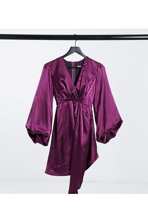 Jaded Rose Exclusive plunge satin mini dress with balloon sleeve and train detail in plum