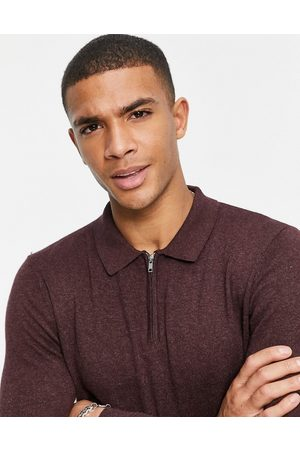 Topman Organic long sleeve knitted polo with zip in burgundy