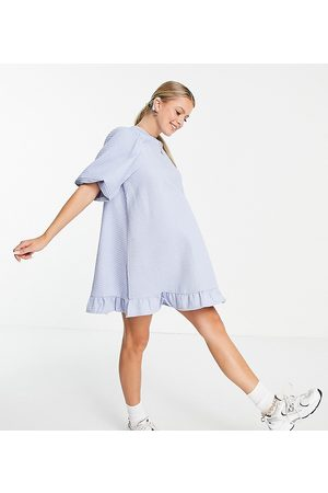 Pieces Maternity Puff sleeve shift dress in blue
