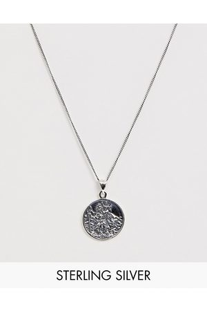 ASOS Sterling silver neckchain with St Christopher pendant in silver