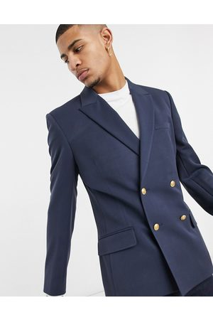 ASOS Skinny double breasted blazer with gold buttons in navy