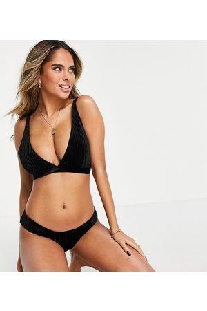 Wolf & Whistle Fuller Bust Exclusive high leg bikini bottom in black ribbed velvet