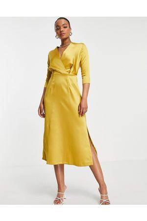 Closet Closet Gold 3/4 Sleeve Wrap Dress