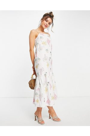 Never Fully Dressed Trapeze midi dress in pink sealife print