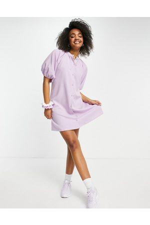 Lola May Puff sleeve shirt dress in lilac