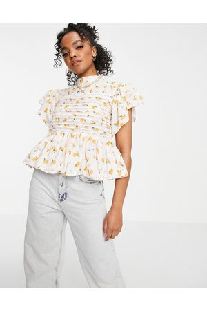 ASOS Short sleeve floral top with pintucks and lace insert in white