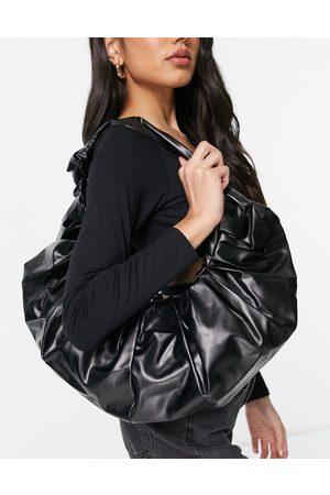 Ego Croissant shoulder bag with ruching in black