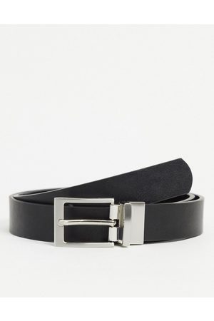 ASOS Smart slim reversible belt in black patent emboss and faux leather