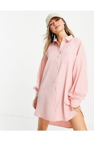 Lola May Oversized dip hem shirt dress in coral stripe