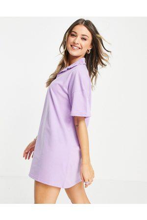 Lola May Short sleeve polo shirt dress in lilac
