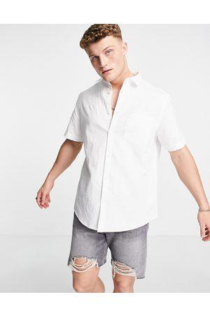 River Island Short sleeve linen shirt in white