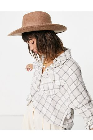 ASOS Felt fedora hat with wide brim in oatmeal