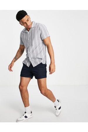 Abercrombie & Fitch Hombre Manga corta - Resort revere collar short sleeve textural stripe shirt in blue
