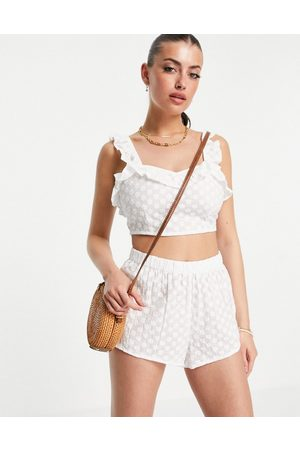 Fashion Union Broderie anglaise beach crop top co