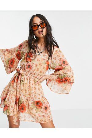 VIOLET ROMANCE Chiffon tiered mini dress in floral print