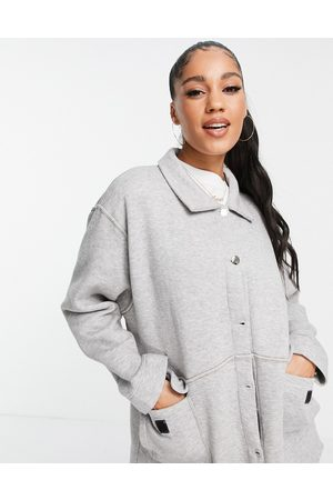 Lasula Oversized jersey shacket co ord in grey