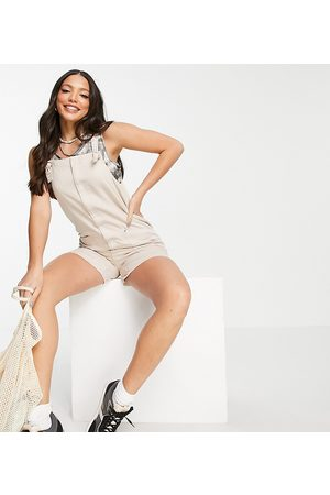 Noisy May Dungaree playsuit in stone