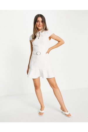 Morgan Belted skater mini dress with cap sleeve in ivory
