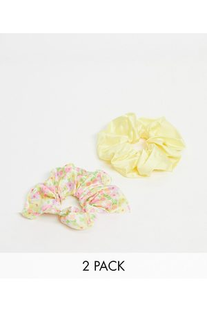 ASOS Pack of 2 oversized scrunchies in yellow floral print