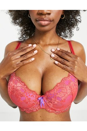 Pour Moi Fuller Bust Amour padded lace balconette bra in orange and violet