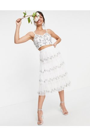 Maya Embellished tiered midi skirt in white co