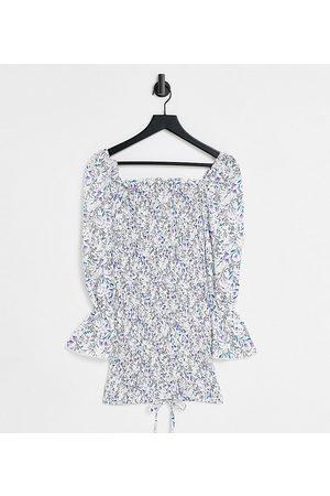 Parisian Tie front bodycon dress in floral print