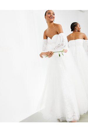 ASOS Mila off shoulder embroidered mesh wedding dress