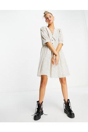 Object Organic cotton mini smock dress with collar in spot print