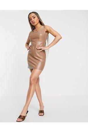 NaaNaa PU bodycon mini dress in tan